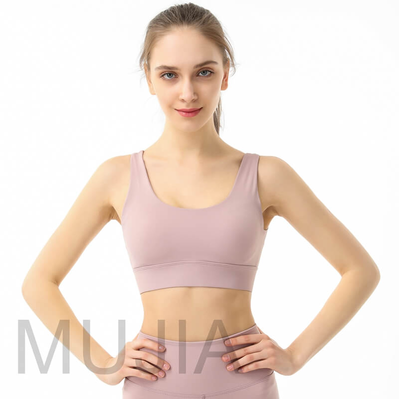 Hemless cut fixed pads sports bra with hooks and eyes